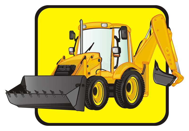 Excavator and yellow sign. Yellow excavator on the middle of yellow road sign stock illustration