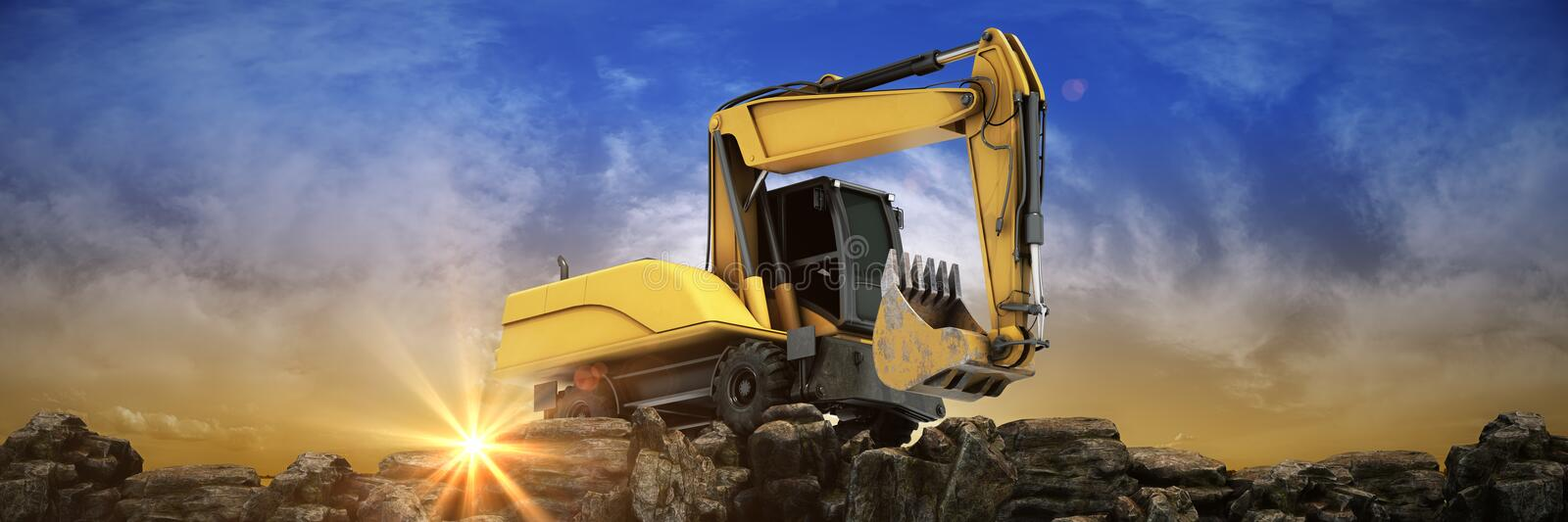 Yellow excavator at sunset. 3d. Rendering vector illustration