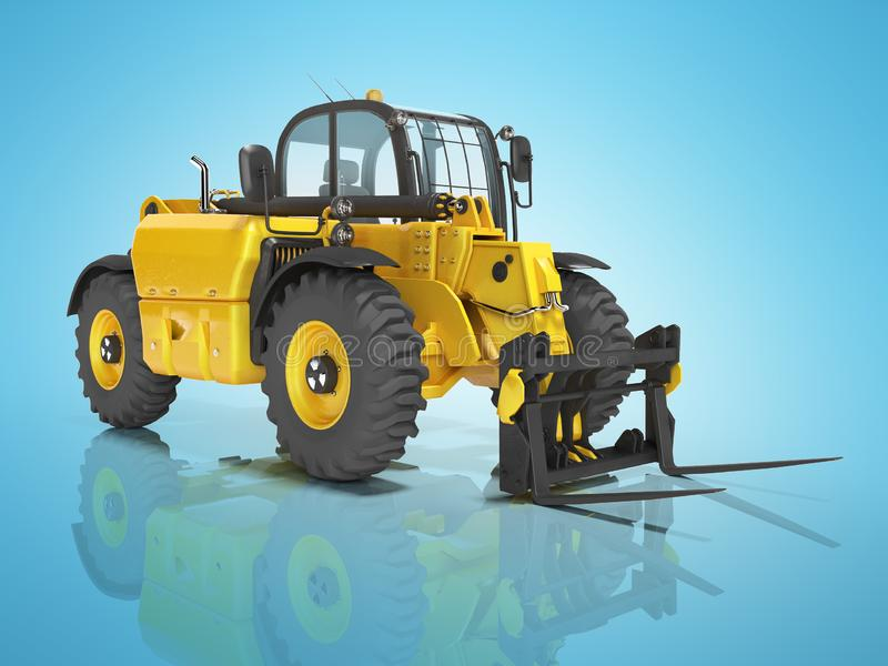 Yellow excavator telescopic loader isolated 3D render on blue background with shadow. Yellow excavator telescopic loader isolated 3D render on blue background vector illustration