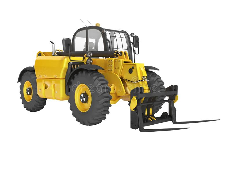 Yellow excavator telescopic loader isolated 3D render on white background no shadow. Yellow excavator telescopic loader isolated 3D render on white background vector illustration