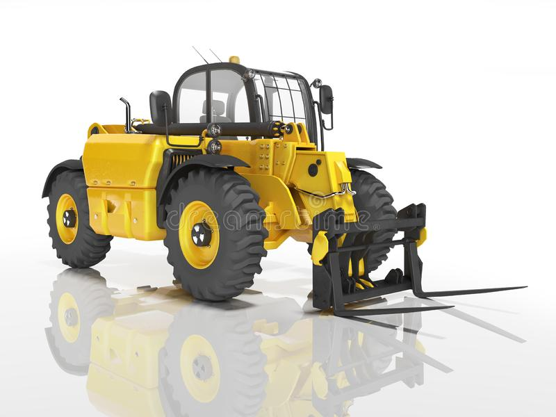Yellow excavator telescopic loader isolated 3D render on white background with shadow. Yellow excavator telescopic loader isolated 3D render on white background vector illustration