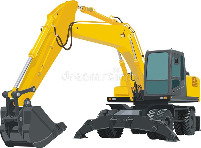 Yellow excavator tractor royalty free illustration