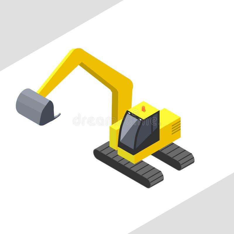 Yellow excavator vector in isometric projection. Vector colored illustration vector illustration