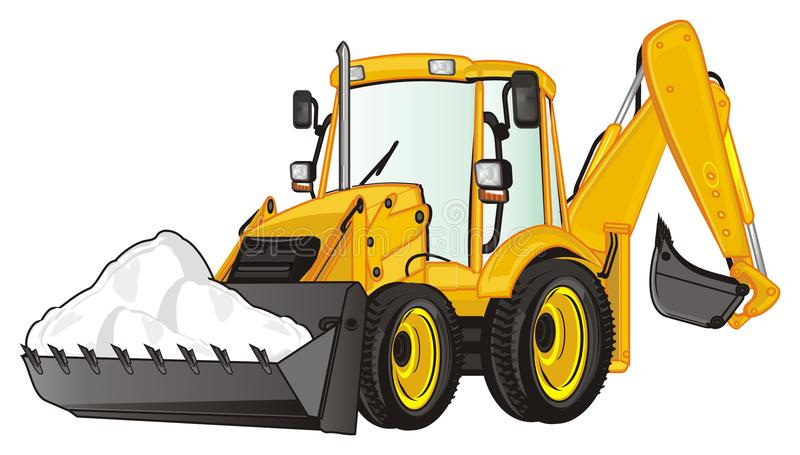 Excavator and heap. Yellow excavator with white heap of snow royalty free illustration