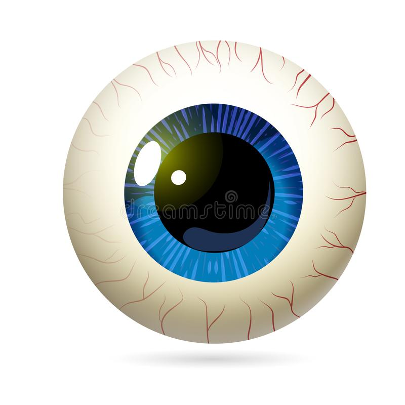 Yellow eyeball vector. Human eye front view close-up, cornea, retina, pupil. The blue iris and white of the eye are yellow. Eyeball icon design isolated on white stock illustration