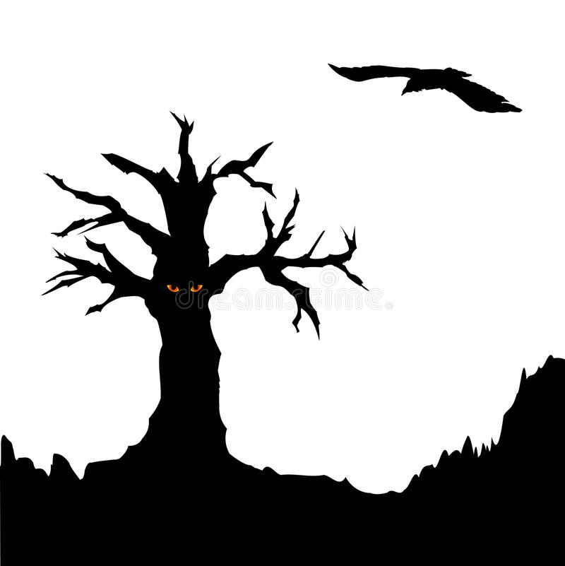 Tree and flying raven royalty free illustration