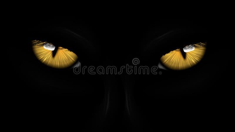 Yellow eyes black Panther royalty free illustration