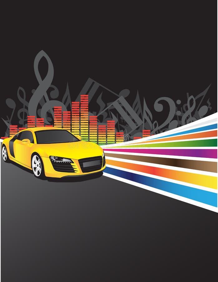 yellow för bakgrundsbilmusik stock illustrationer