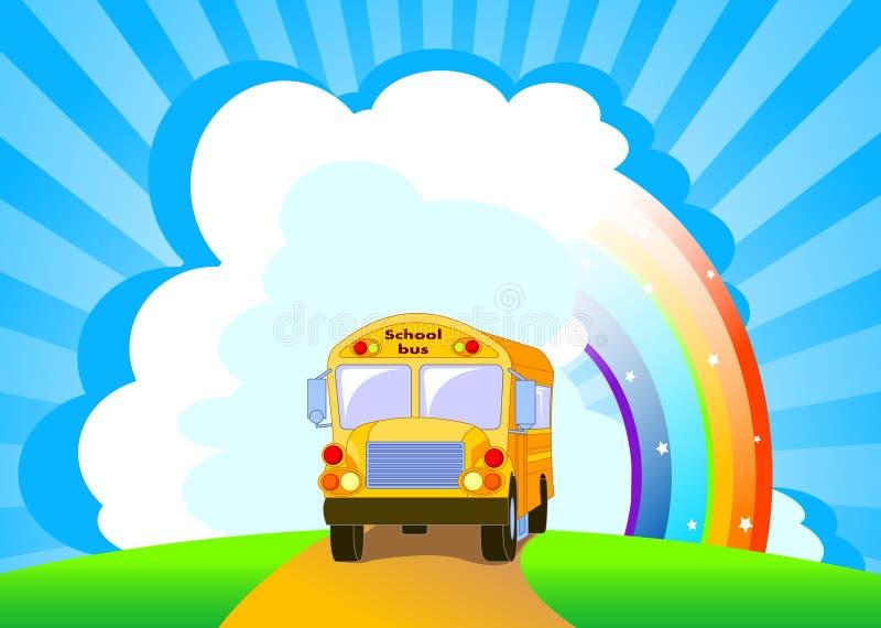yellow för bakgrundsbussskola stock illustrationer