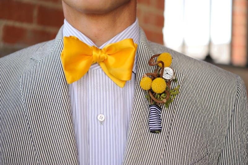 yellow för bowtieseersuckerdräkt royaltyfri bild