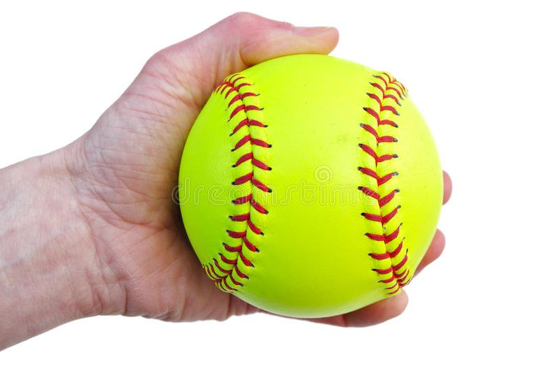 yellow för holdingspelaresoftball fotografering för bildbyråer