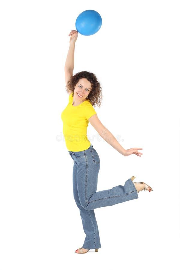 yellow för kvinna för ballongjeansskjorta arkivfoton