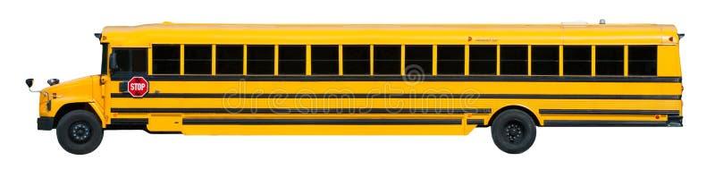 yellow för lång skola för baner buss isolerad vit arkivbilder