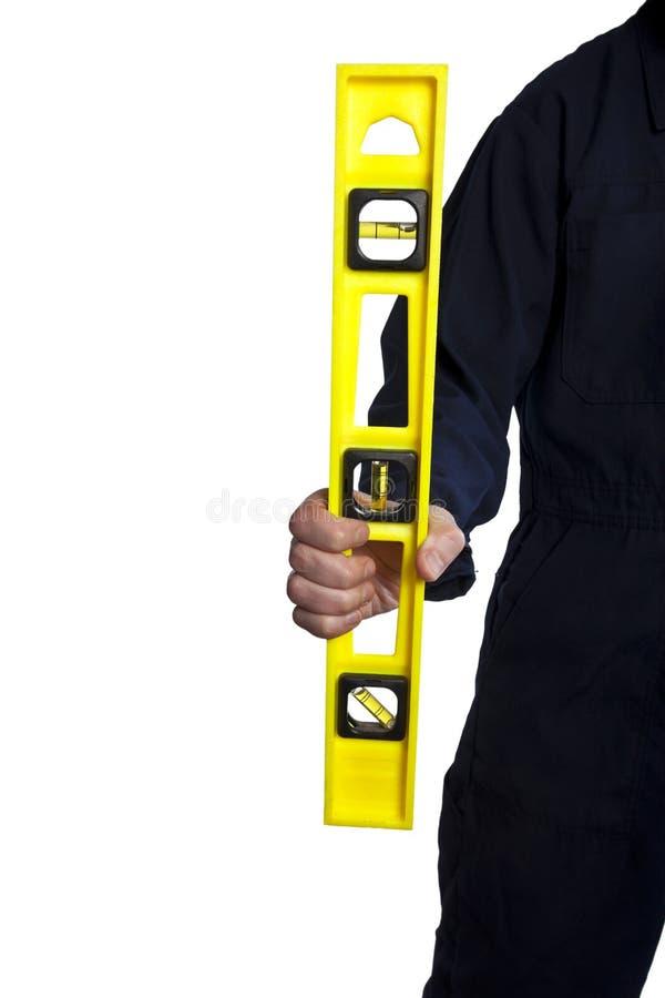 yellow för man för bubblaholdingnivå arkivfoto