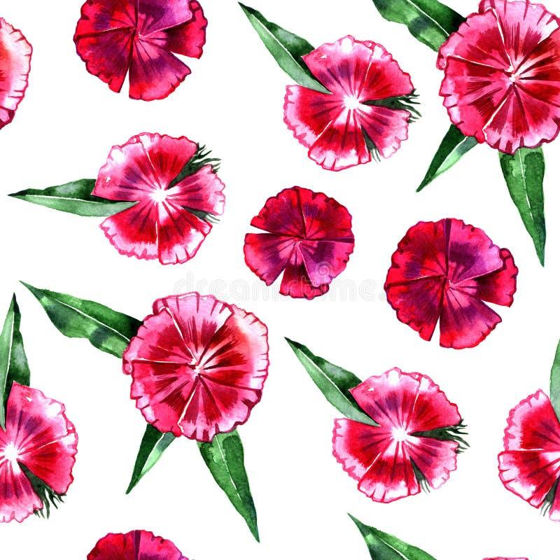 yellow för modell för hjärta för blommor för fjärilsdroppe blom- Bakgrund för rosa nejlika för blomma sömlös royaltyfri foto