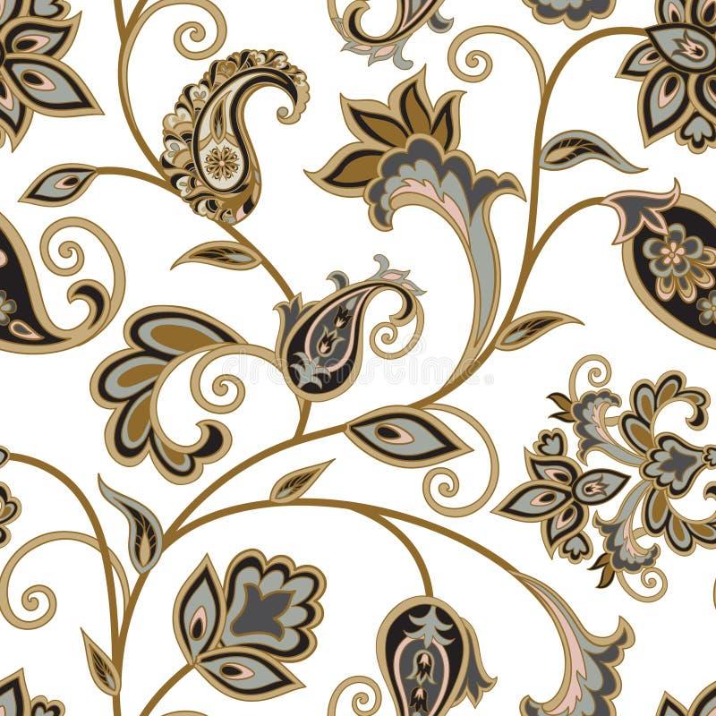 yellow för modell för hjärta för blommor för fjärilsdroppe blom- Orientalisk etnisk bakgrund för krusidull Arabiskt orange royaltyfri illustrationer
