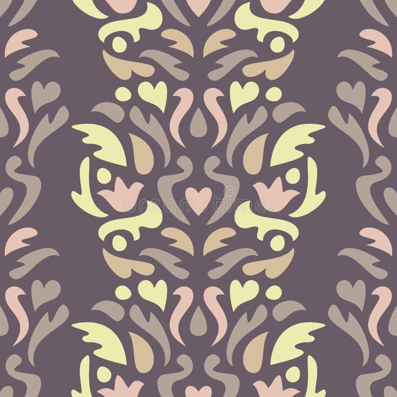 yellow för modell för hjärta för blommor för fjärilsdroppe blom- Sömlös abstrakt dekorativ bakgrund royaltyfri illustrationer