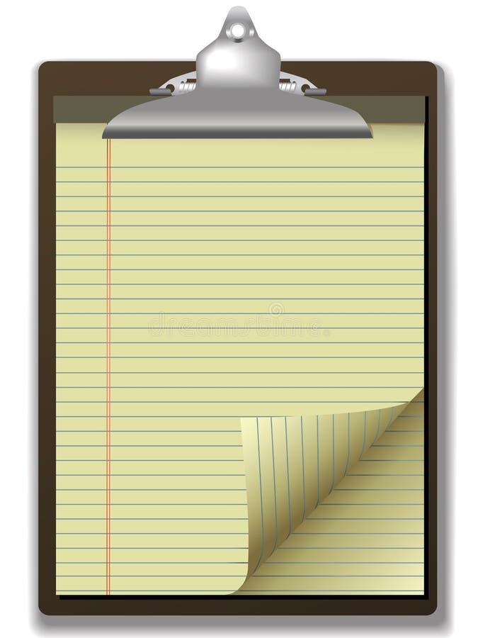 yellow för papper för sida för lagligt block för clipboardhörnkrullning vektor illustrationer
