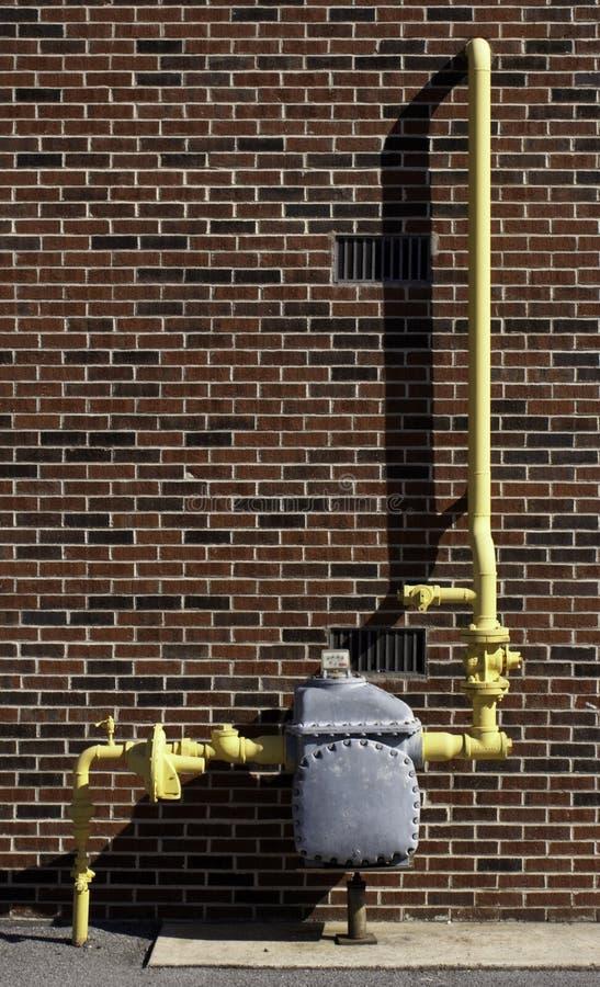 yellow för rør för gasräkneverk royaltyfria foton
