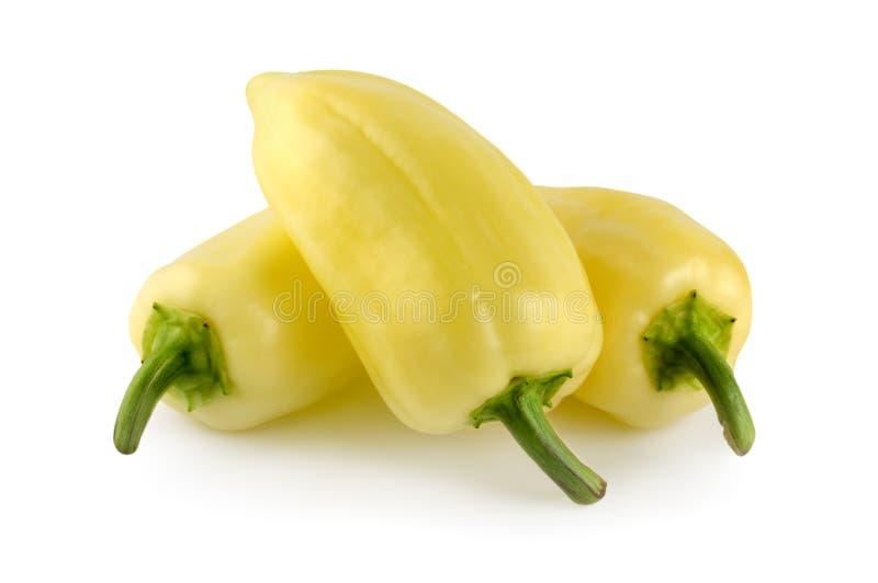 yellow för spansk peppar tre royaltyfria foton