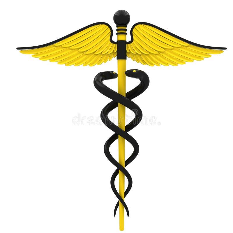 yellow för symbol för svart caduceusfärg medicinsk stock illustrationer