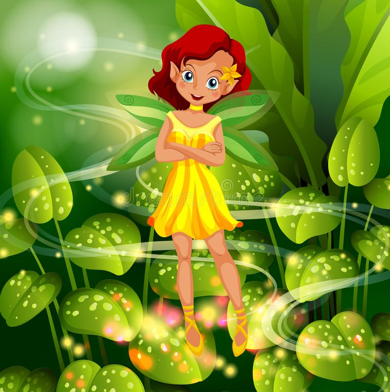 Yellow fairy flying in garden. Illustration stock illustration