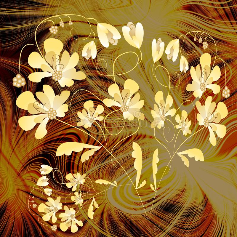Yellow fantasy flowers on fractal background royalty free illustration