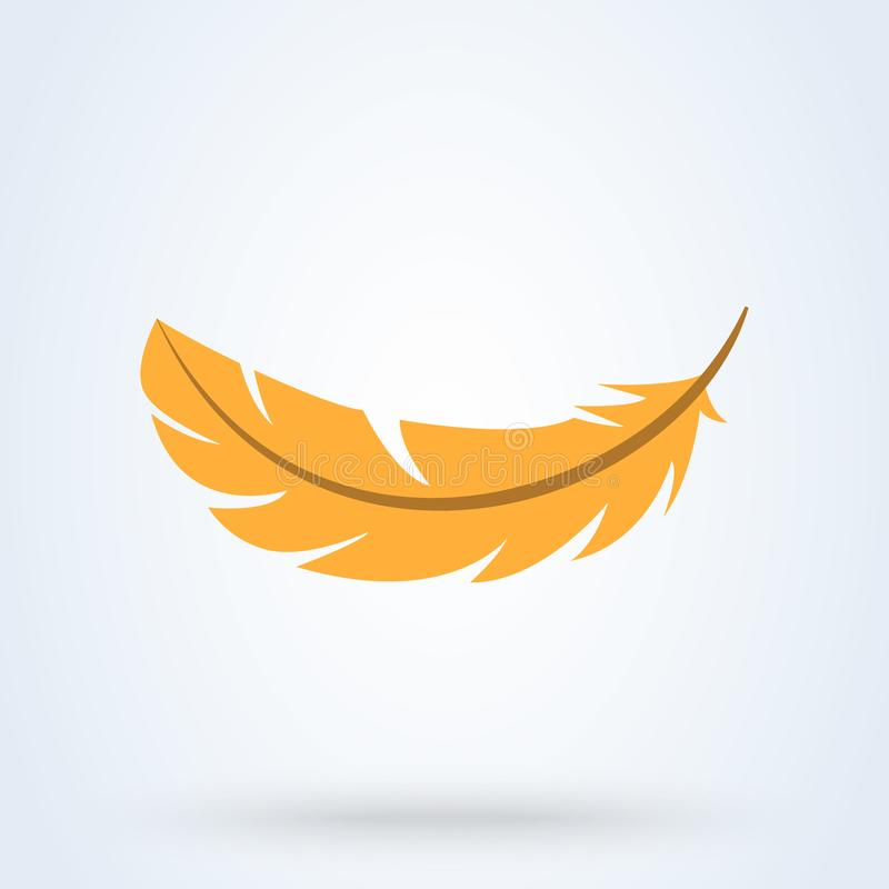 Yellow feather on white background. Vector illustration. Flat illustration of yellow feather icon royalty free illustration