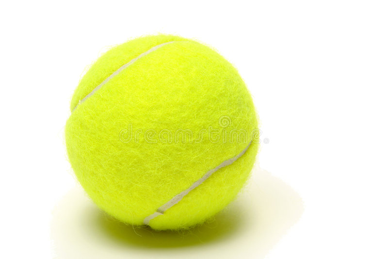 Yellow Felt Tennis Ball over White royalty free stock photography