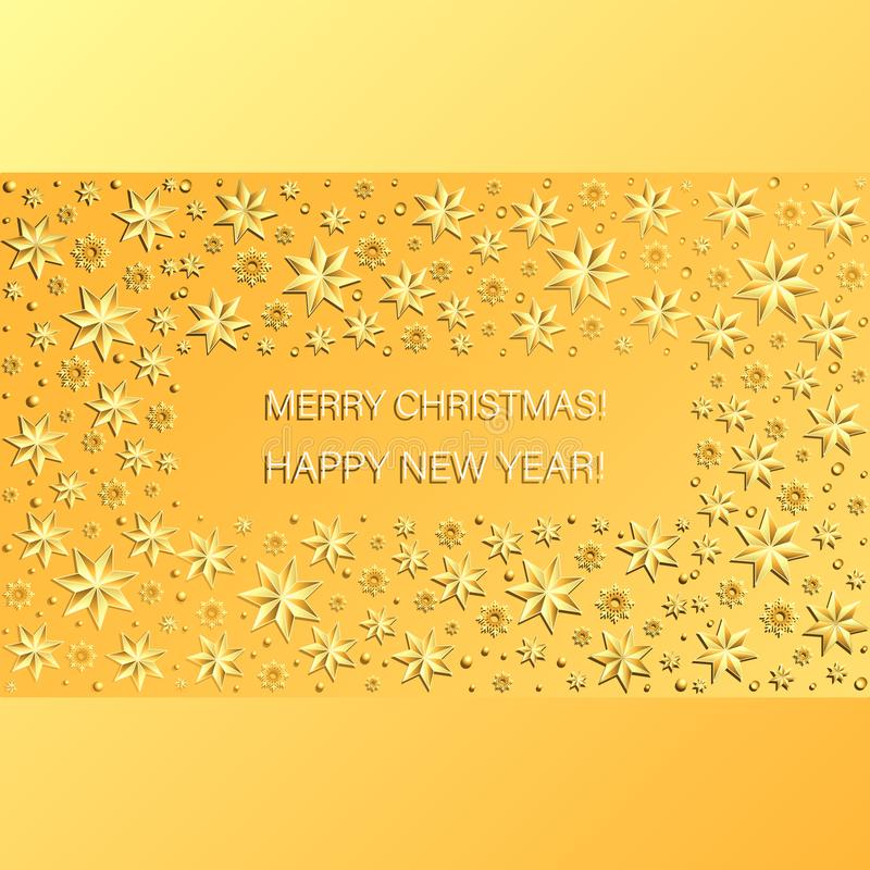 Yellow festive background with a rectangle of snowflakes, beads and Christmas stars. Bright Christmas card. Merry Christmas! HAPPY NEW YEAR vector illustration