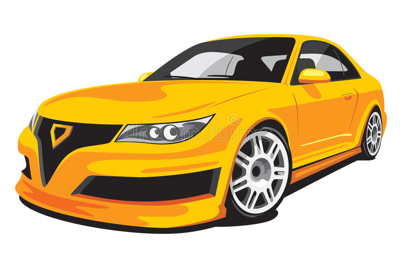 Yellow fictive sports car stock illustration