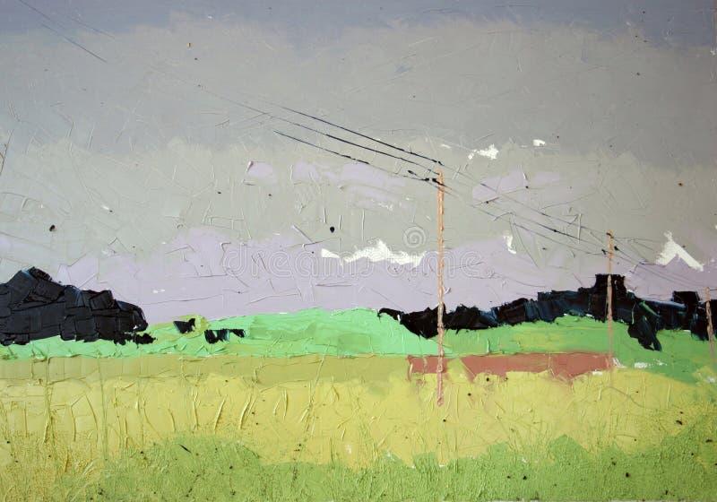 Yellow fields landscape stock illustration