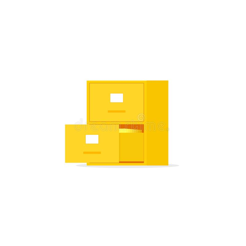 Yellow file cabinet with two drawer. Vector image isolated on white background stock illustration