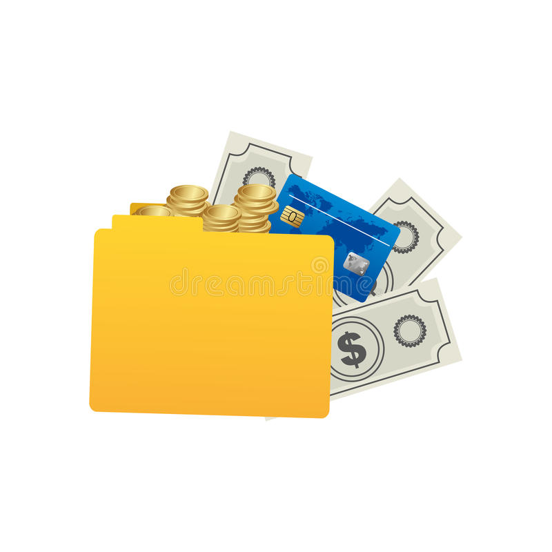 yellow file with money icon stock illustration