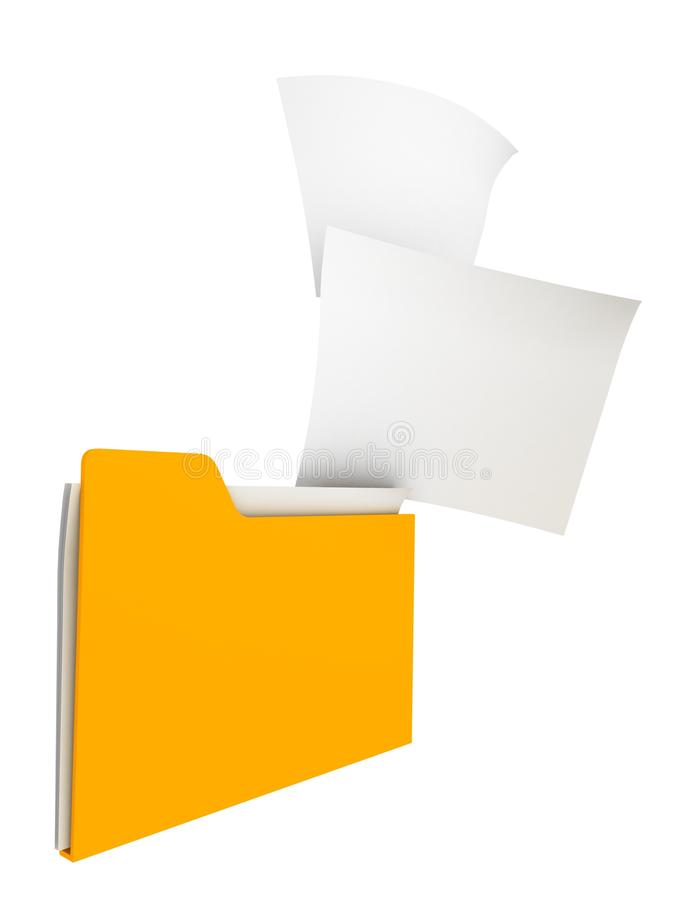 Download Yellow Filing Office Folder With Paper Sticks Stock Illustration - Image: 23062344