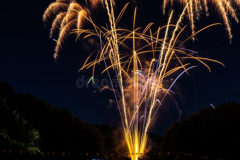 Yellow Fireworks during Night Time royalty free stock images