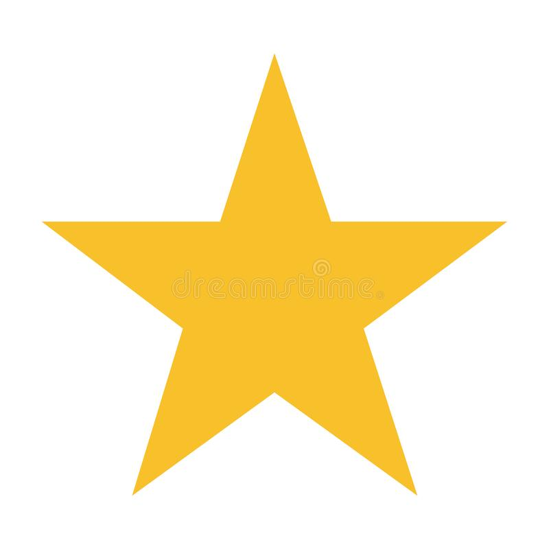 Yellow five points star on white background vector illustration