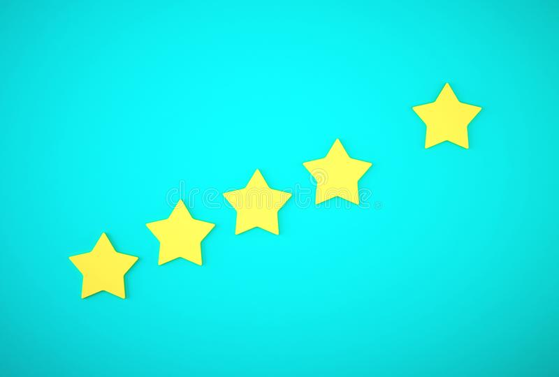 Yellow five star symbol on blue background. The best excellent business services rating customer experience concept. stock photography