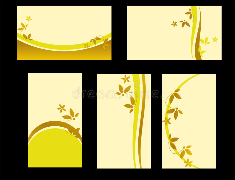 Yellow floral business card set royalty free illustration