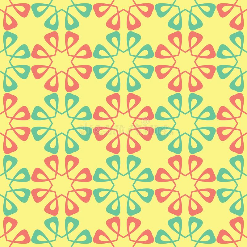 Yellow floral seamless pattern. Colored background with pink and green flower design royalty free illustration