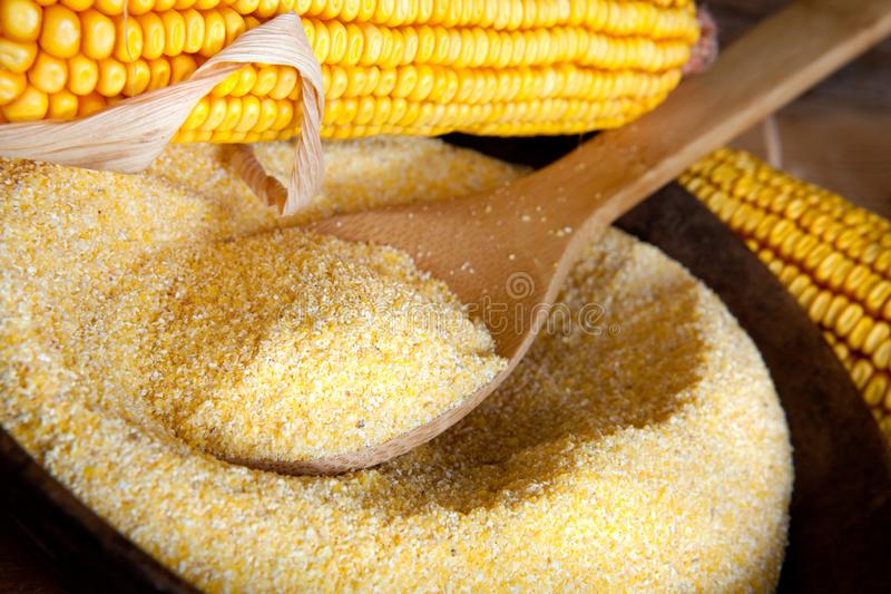 Yellow flour with corn - close up royalty free stock images