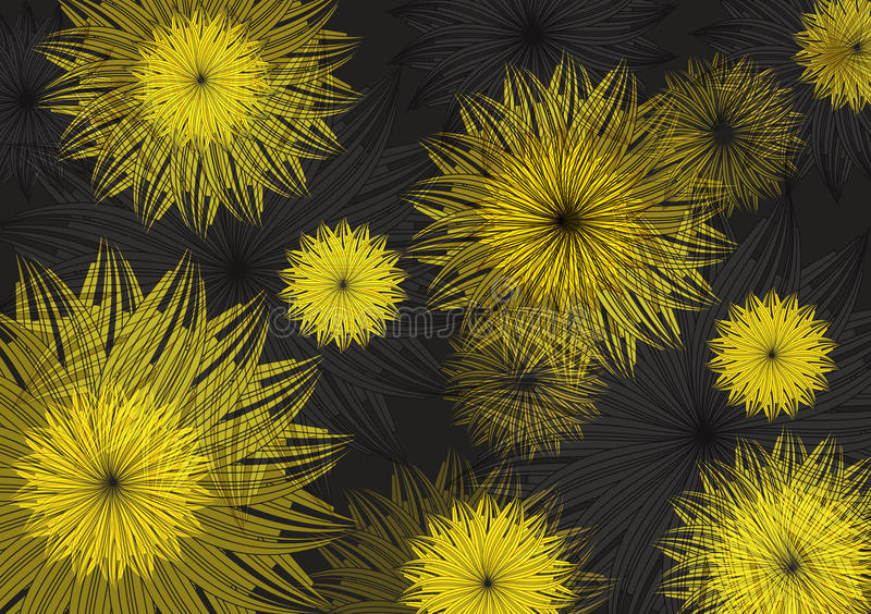 Yellow flower on black Vector Background stock images