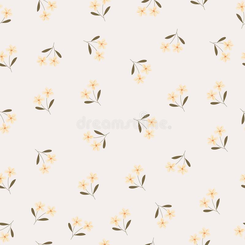 Yellow flower and brown leaf seamless background royalty free illustration