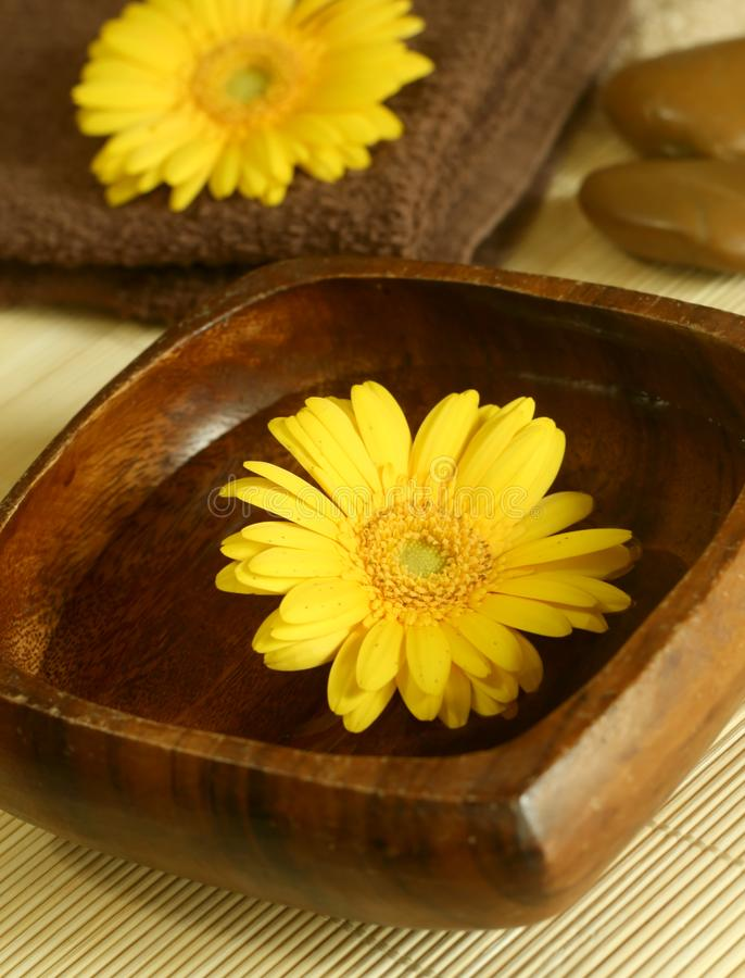 Yellow flower floating in wooden bow, towel and s stock images