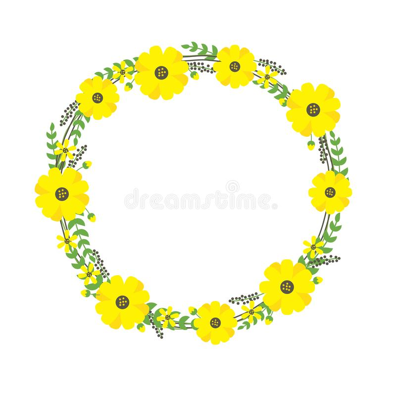 Yellow flower frame vector illustration suitable for summer template design royalty free illustration