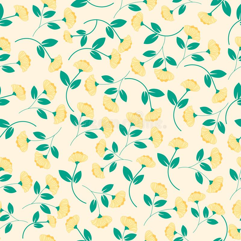 Yellow flower and green leaves seamless pattern vector illustration