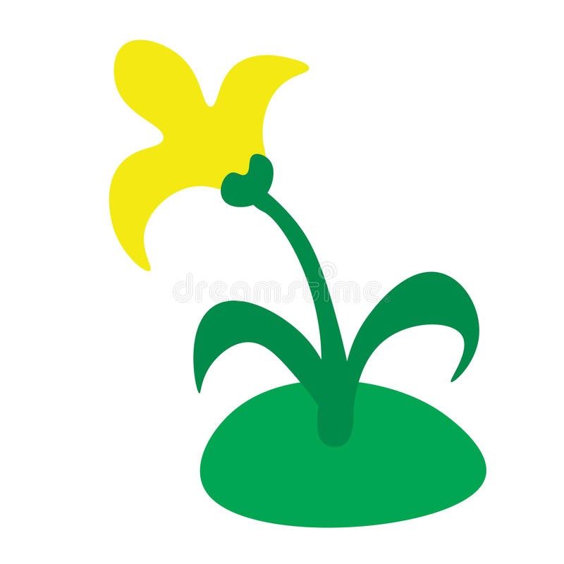 Yellow flower on the lawn. Cartoon yellow flower on the grass isolated on white background stock illustration