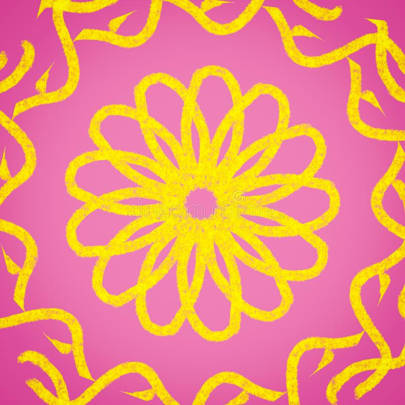 Yellow flower and ornaments on a gradient pink background. Yellow flower hand drawn ornaments pastel gradient pink background          bright beautiful cute vector illustration
