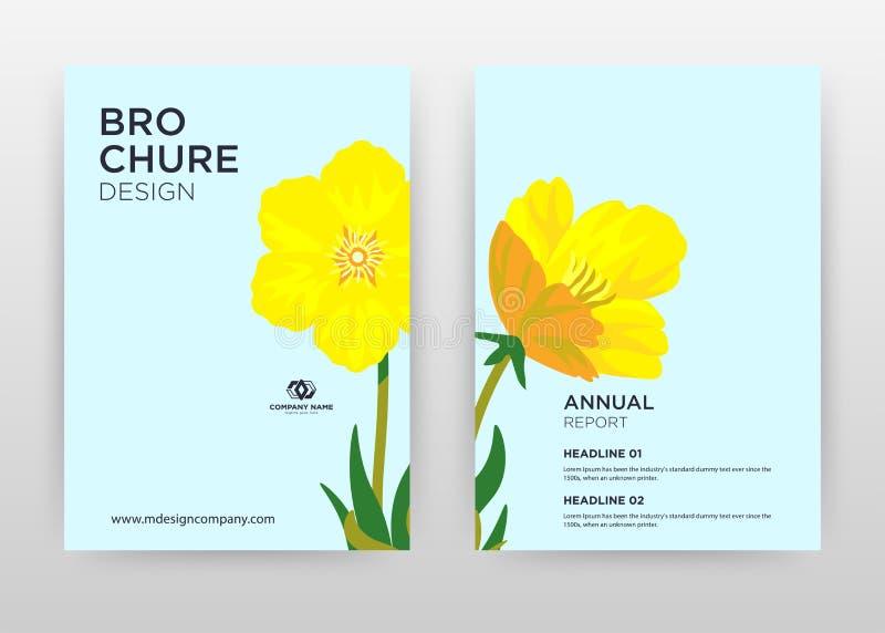 Yellow flower petal design for annual report, brochure, flyer, poster. Yellow flower on blue background vector illustration for. Flyer, leaflet, poster vector illustration