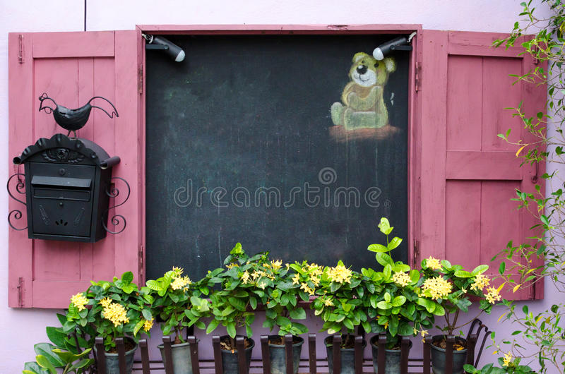 Yellow flower in plant pots growing on pink windows and blackboard stock photography